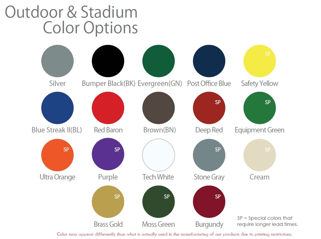 Outdoor Colors & Logo Back Plate Color Options