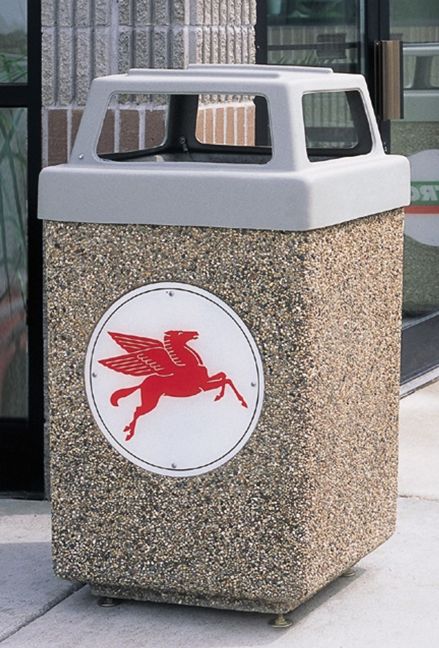 53 Gallon Custom Logo Concrete Square Outdoor Trash Can CLTF1040 with Silkscreen Logo