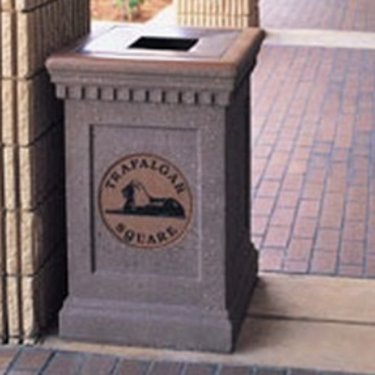 24 Gallon Custom Logo Colonial Concrete  Outdoor Trash Can CLTF1022 with Cast In Logo