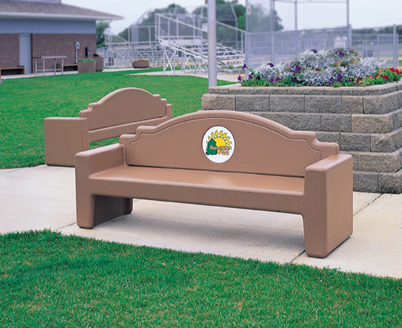 Surprising 7 Foot Custom Logo Outdoor Stone Park Bench With Back Cltf5065 Frankydiablos Diy Chair Ideas Frankydiabloscom