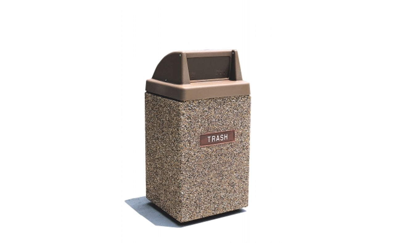 45 Gallon Custom Logo Square Push Door Lid Trash Can with Rear Entry CLTF1029 with Cast Logo