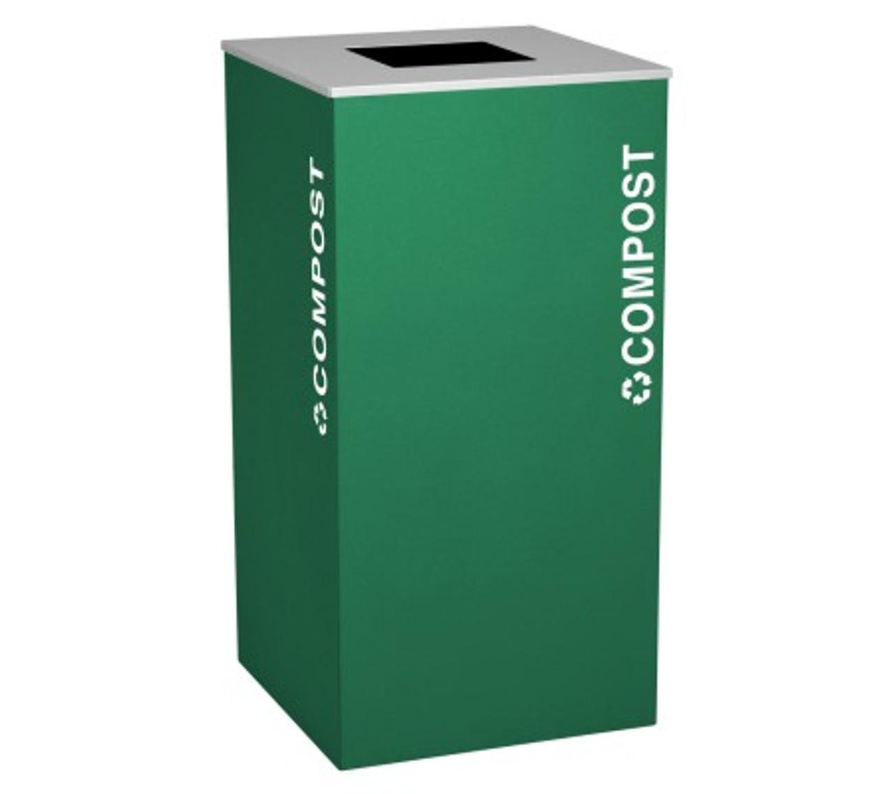 24 Gallon Compost Bin Square Steel Food Waste Can RC-KDSQ-CMPST EGX Emerald Green