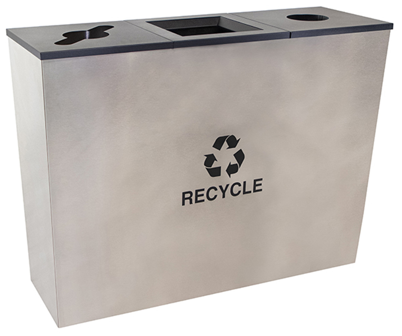 54 Gallon Stainless Steel 3 Stream Metro Collection Recycling Bin RC-MTR-3 SS