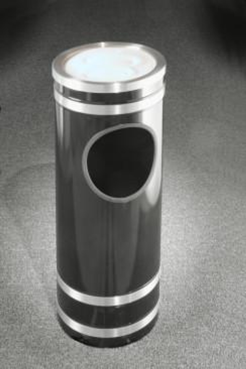 Monte Carlo Ash Trash Receptacle Sand Cover Top Satin Aluminum Cover and Bands
