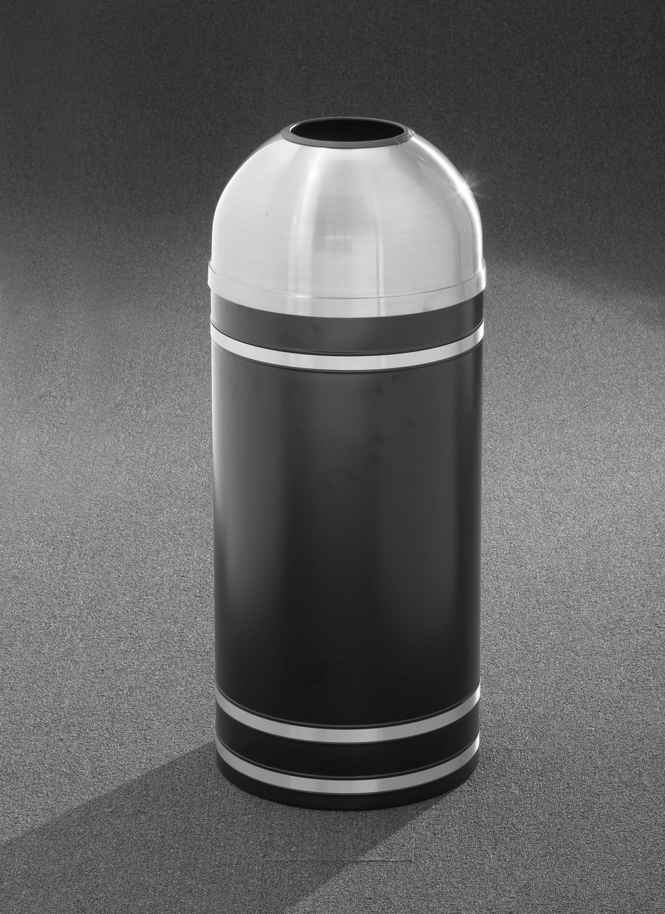 Monte Carlo T1255 Open Dome Top Trash Can Satin Aluminum Cover and Bands