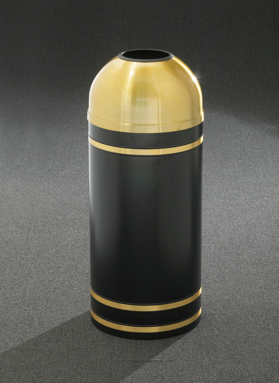 Monte Carlo T1255 Open Dome Top Trash Can Satin Brass Cover and Bands
