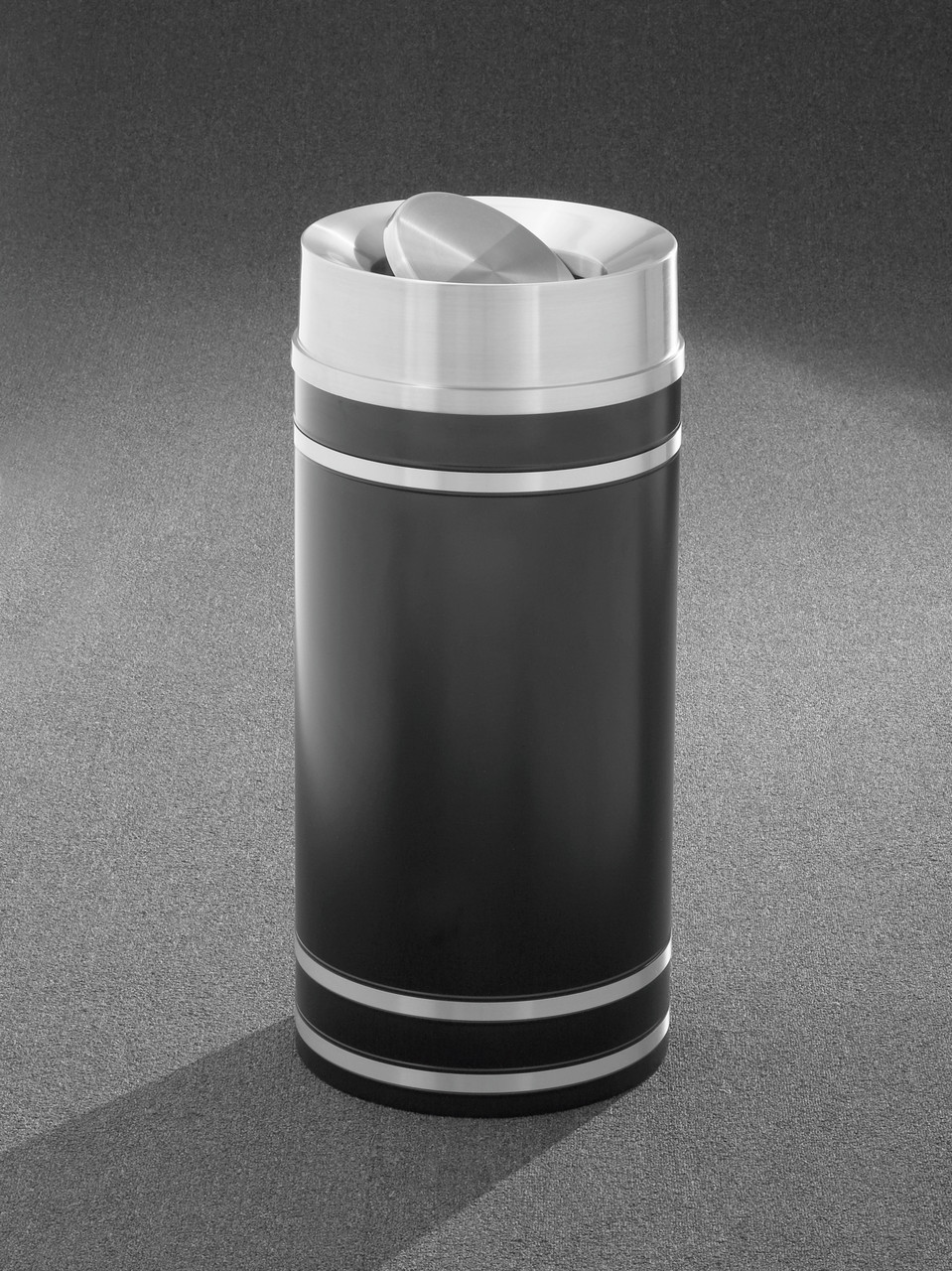 Monte Carlo TA1255 Tip Action Top Trash Can Satin Aluminum Cover and Bands 16 Gallon