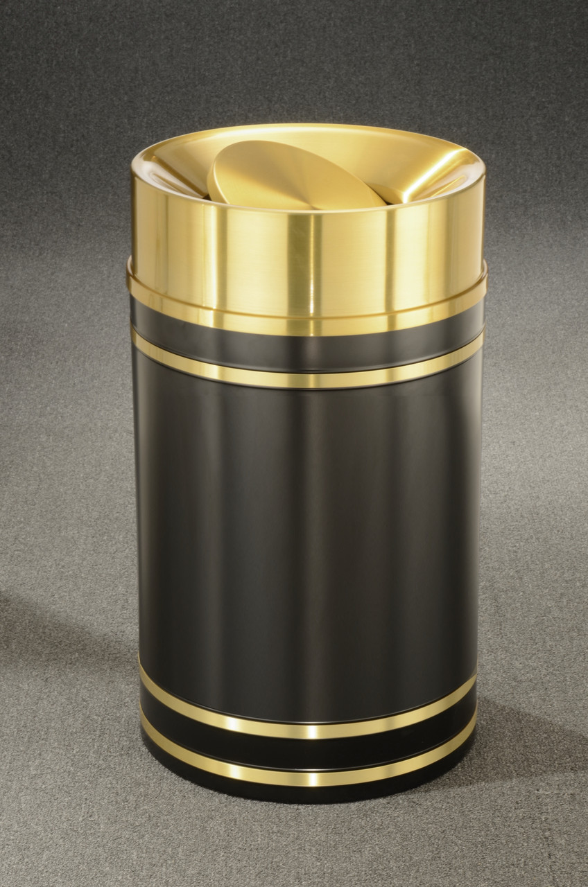 Monte Carlo TA1255 Tip Action Top Trash Can Satin Brass Cover and Bands 33 Gallon