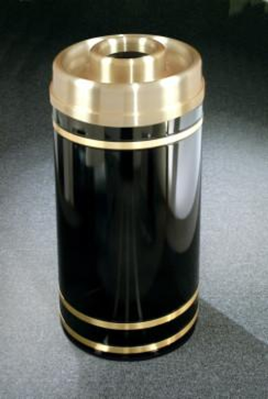 Monte Carlo D1555 Donut Top Ash Trash Receptacle High Gloss Black with Satin Brass Cover and Bands