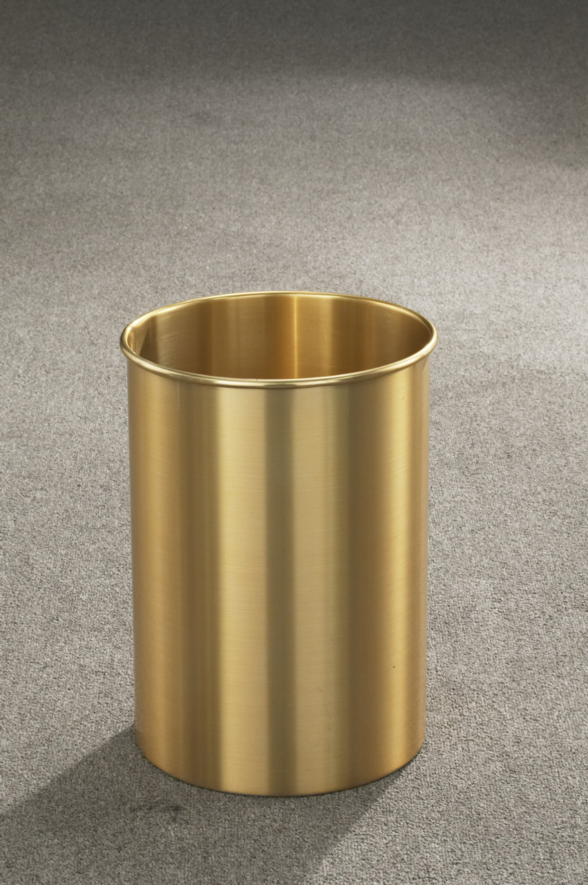 5 Gallon 10 x 15 Open Top Home Office Wastebasket Satin Brass