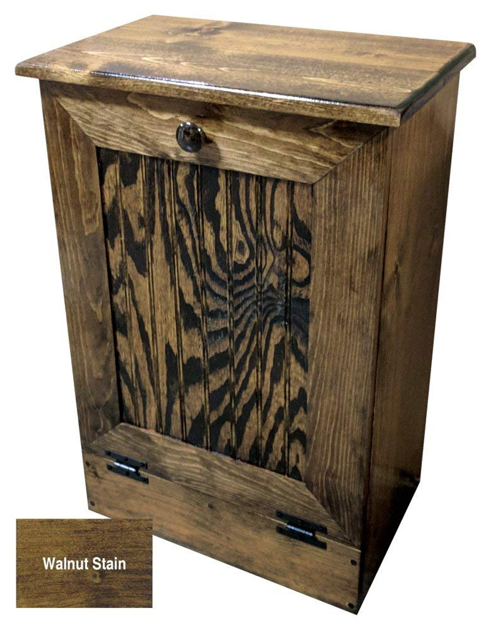 Small Tilt Out Wooden Kitchen Trash Can Walnut Stained