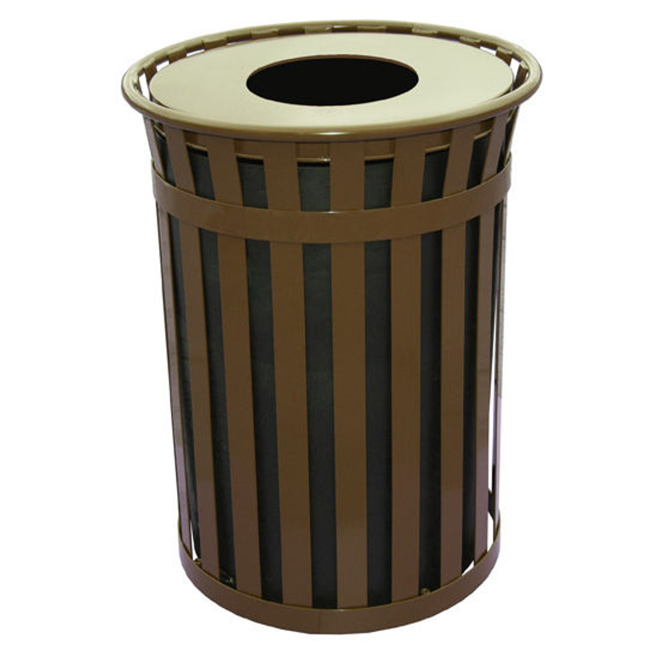 50 Gallon Witt Industries Oakley M5001FT Outdoor Trash Can Brown
