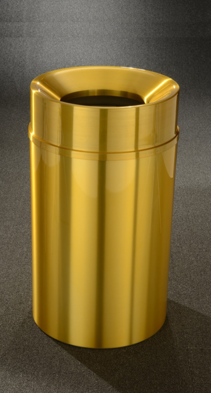 33 Gallon All Weather Brass Funnel Top Trash Can F2035BE