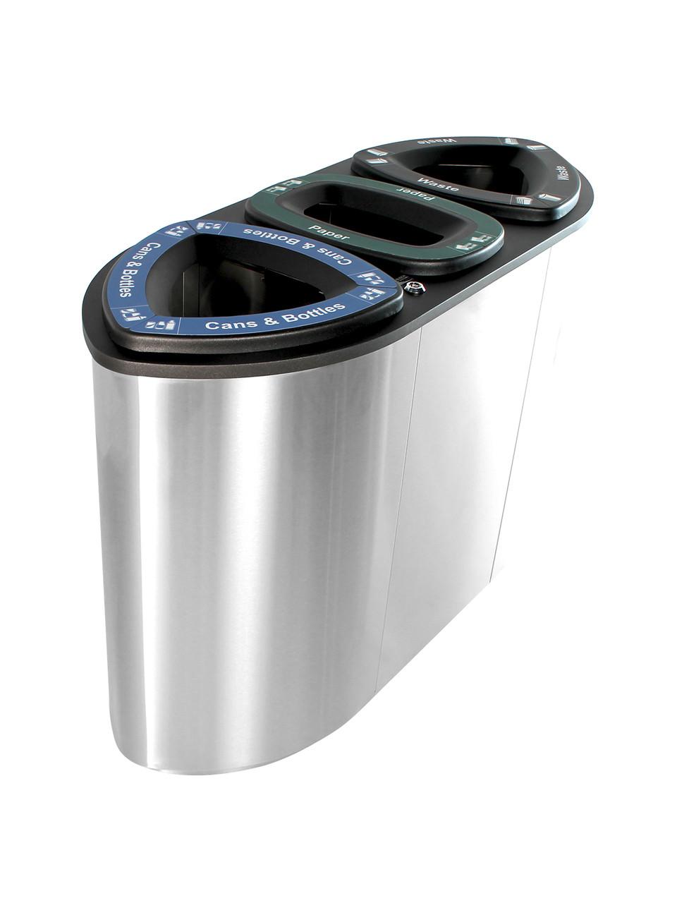 3 Stream 78 Gallon Boka Stainless Steel Recycling Bin BOKA3-SS