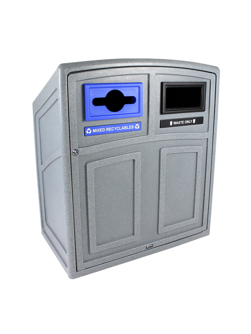 64 Gallon Heavy Duty Uptown Double Recycling Container UT2 Graystone Mixed/Full Openings