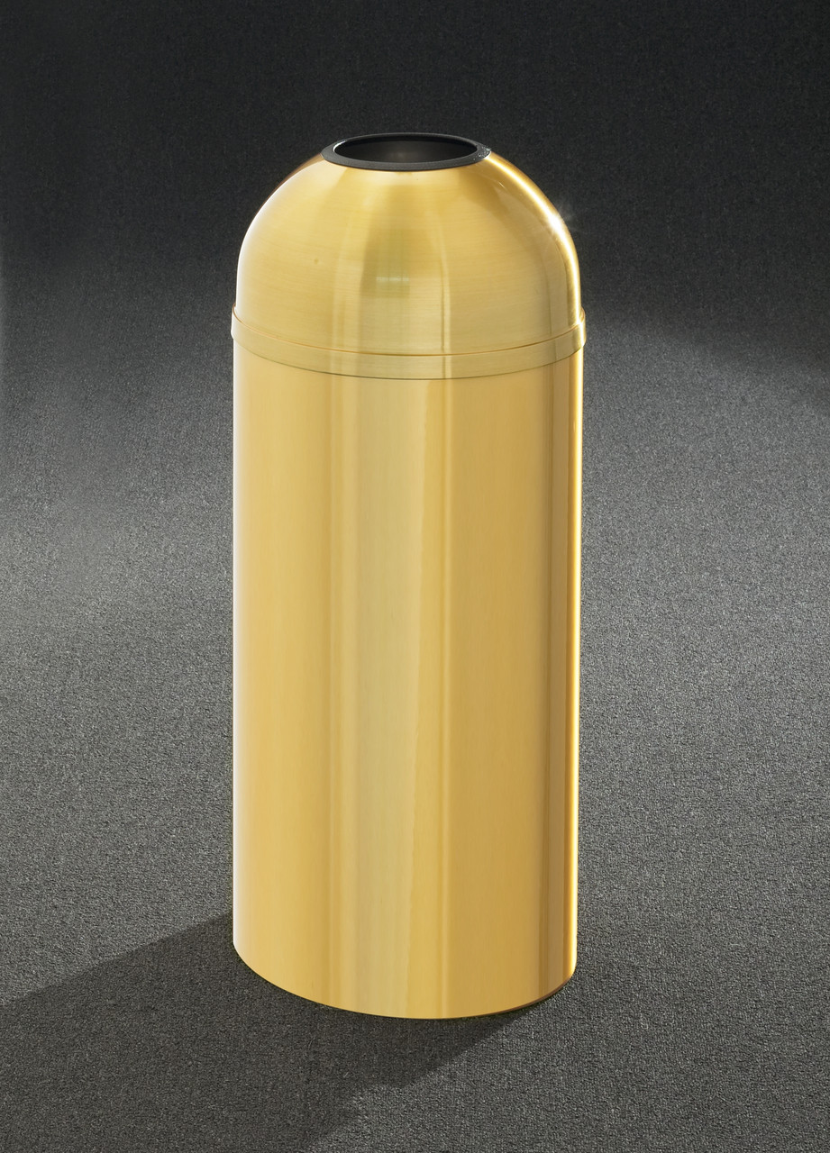 All Weather Brass T1230BE Open Dome Top Trash Can