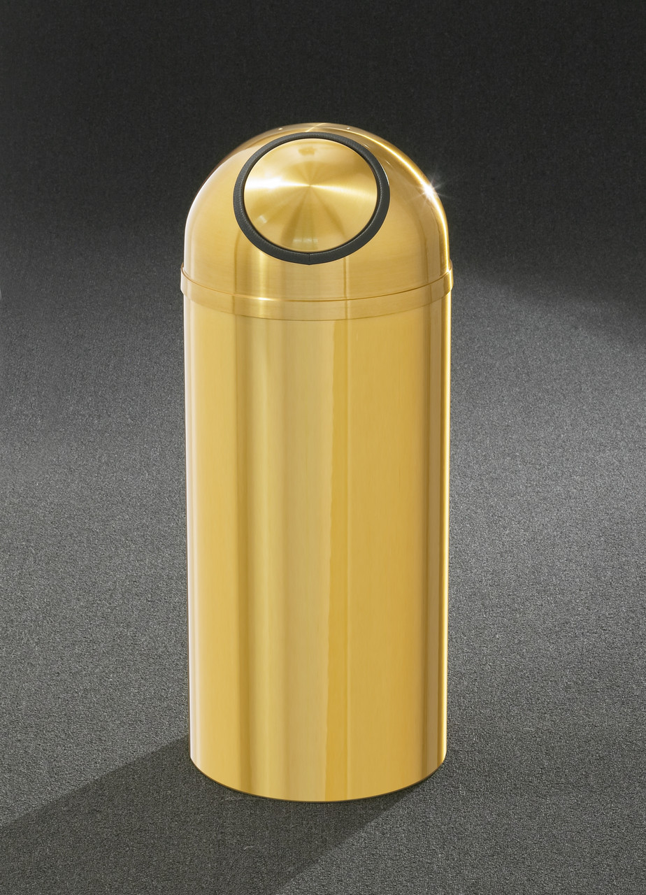 Brass Dome Top Self Closing Trash Can w/Plastic Liner