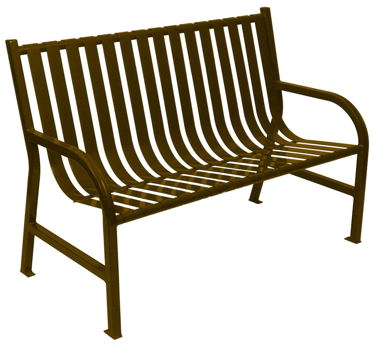 Witt Industries Oakley Outdoor Slatted Bench 4 Foot Brown