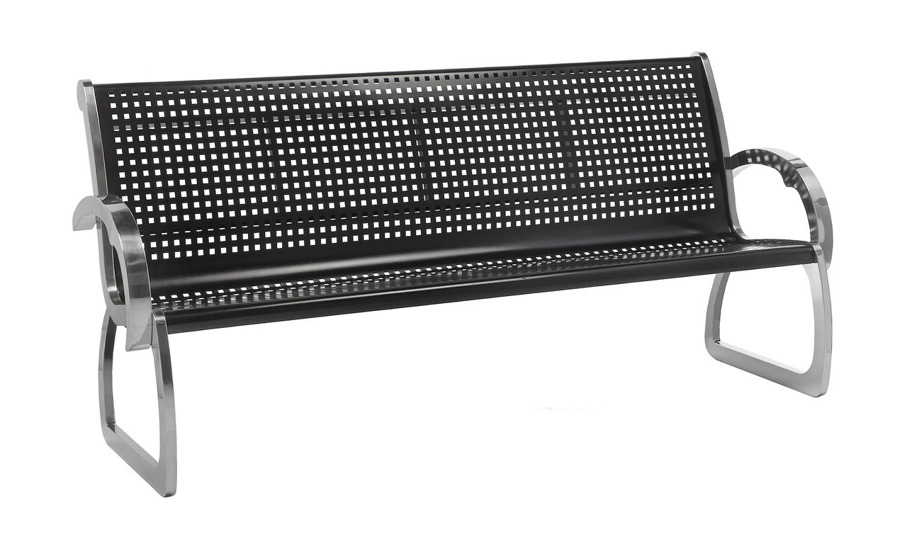 6 Foot Skyline Black Bench with Stainless Steel Sides 725101