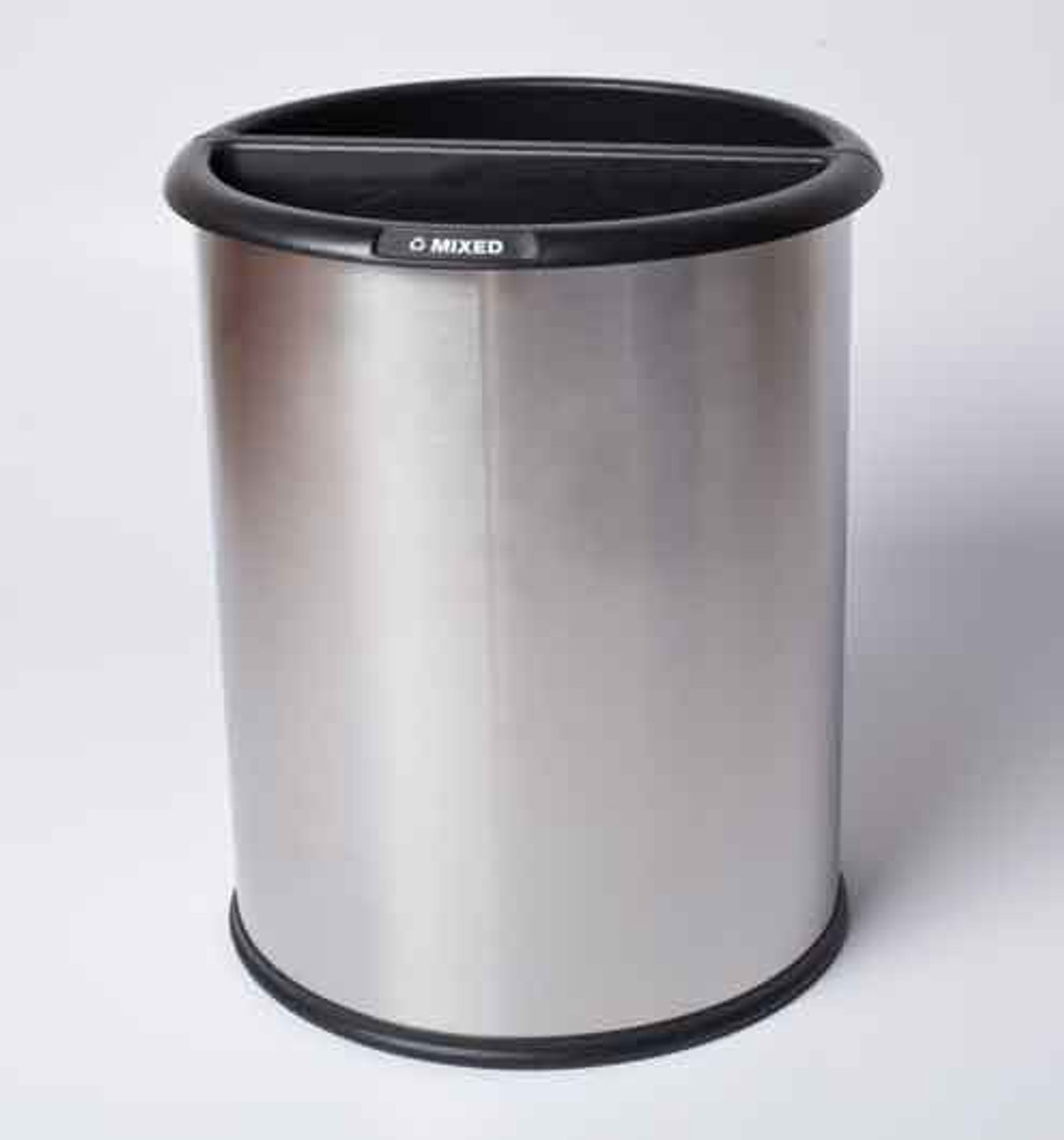Stainless Steel Dual Office Recycling Wastebasket Smooth