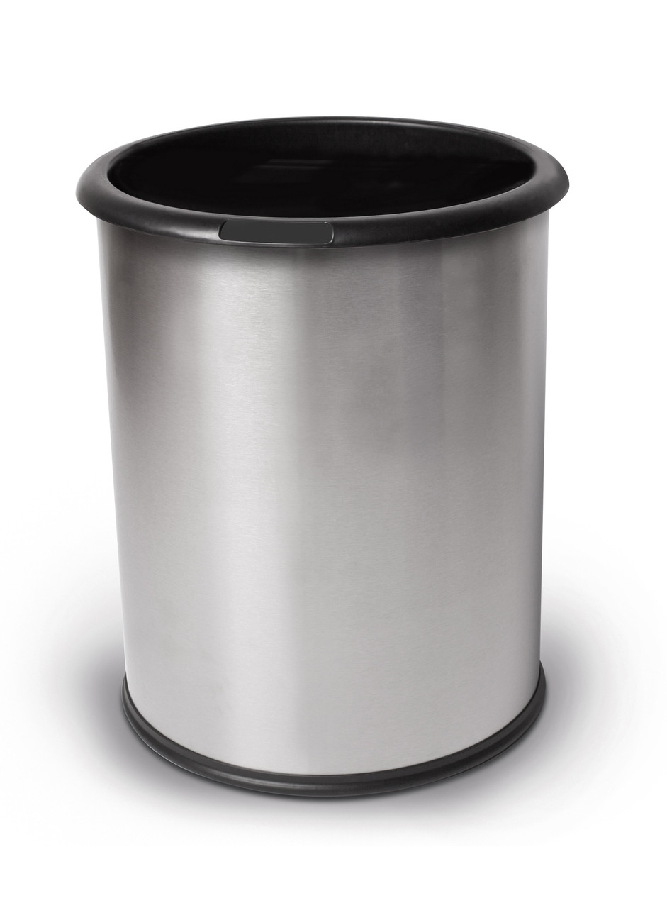4 Gallon Stainless Steel Wastebasket Smooth Steel 785129