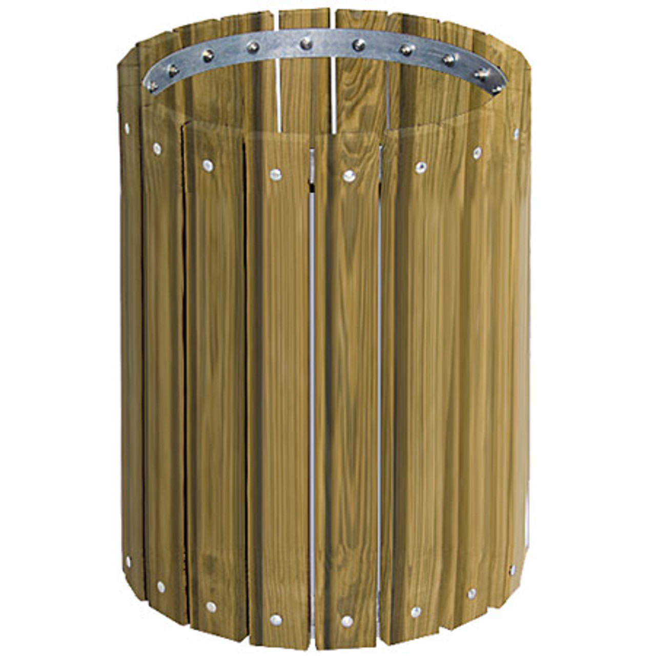 32 Gallon Ultra Site Round Wood Plank Pine Trash Can TR32W Pressure Treated