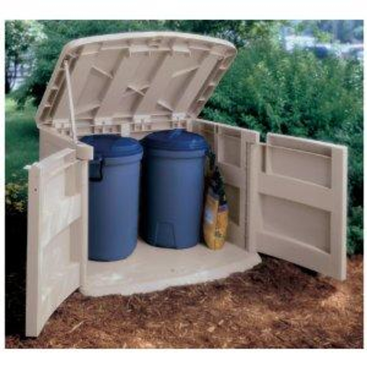 Horizontal Trash Can Storage Shed Garbage Can Hide Away with Garbage Cans