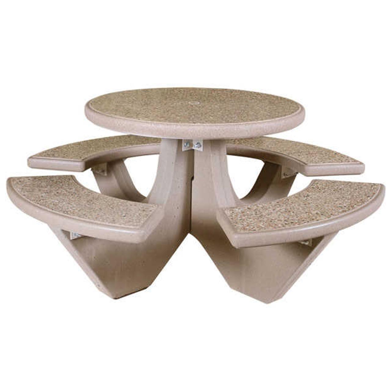 Concrete Picnic Table with Umbrella Insert TF3125 SAND