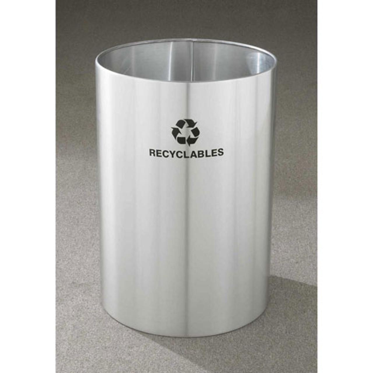 39 Gallon 20 x 29 Large Open Top Recycle Bin Satin Aluminum RO-2029