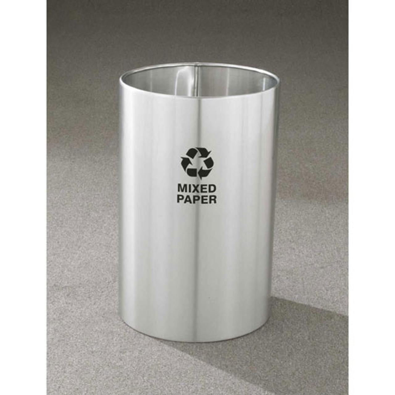 18 Gallon 15 x 23 Open Top Recycle Bin Satin Aluminum RO-1523SA