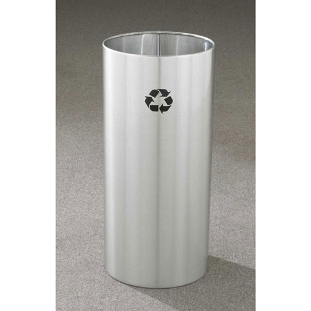 11 Gallon 12 x 23 Open Top Recycle Bin Satin Aluminum RO-1223SA