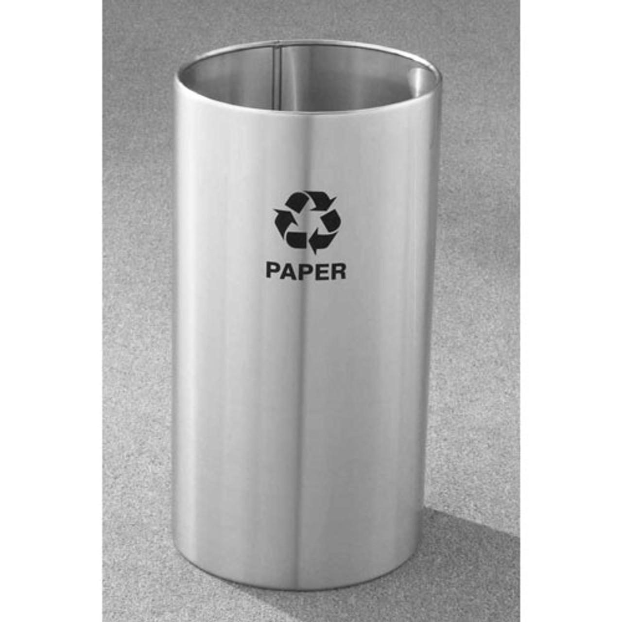 22 Gallon 15 x 29 Open Top Recycle Bin Satin Aluminum RO-1529SA