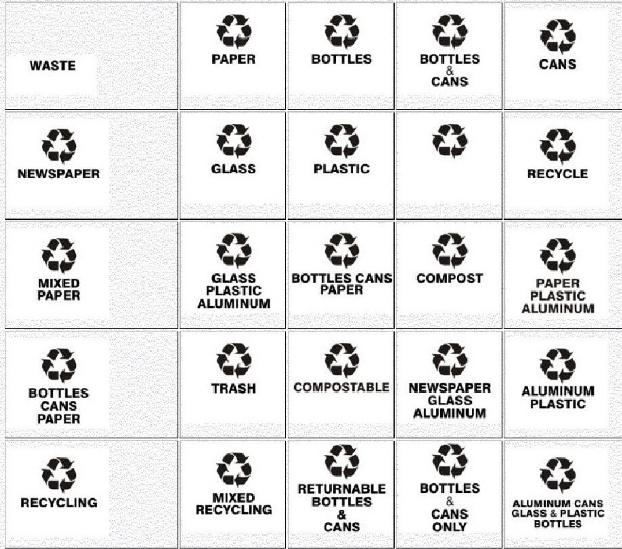 Available Recycling Messages