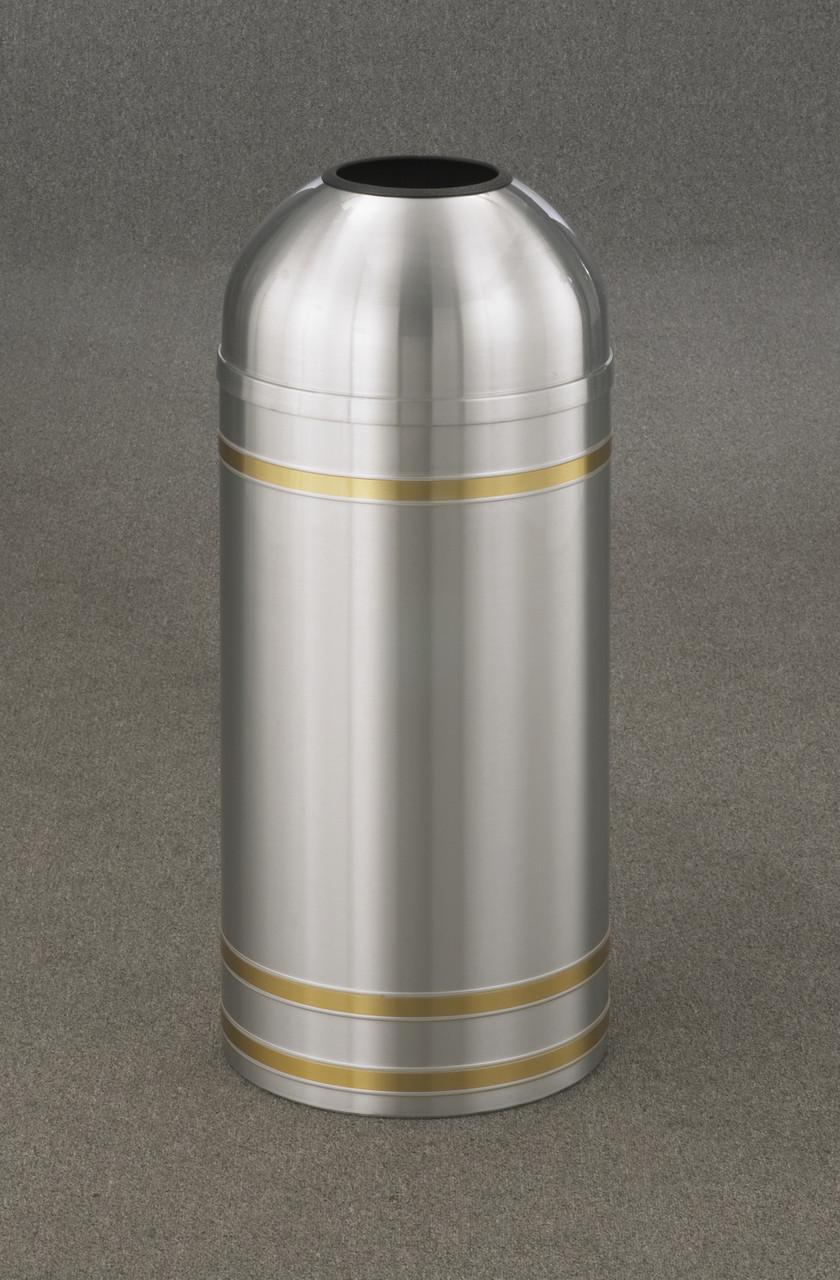 Capri T1534 Open Dome Top Trash Can Satin Aluminum