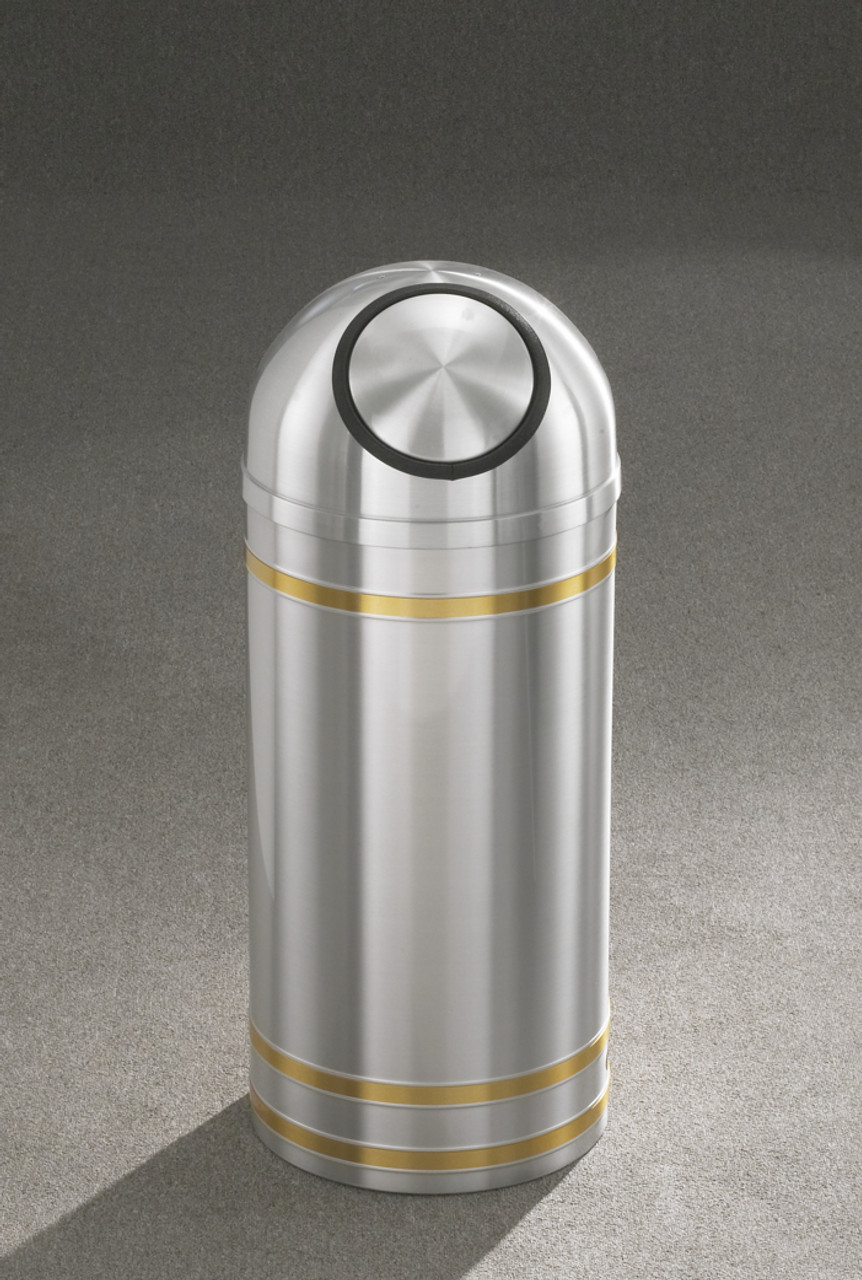 Capri S1534 Dome Top Trash Can Satin Aluminum
