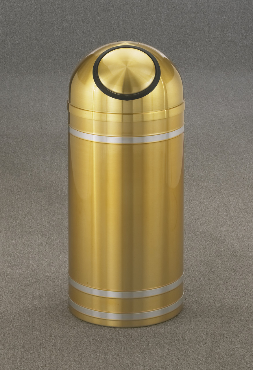 Capri S1534 Dome Top Trash Can Satin Brass