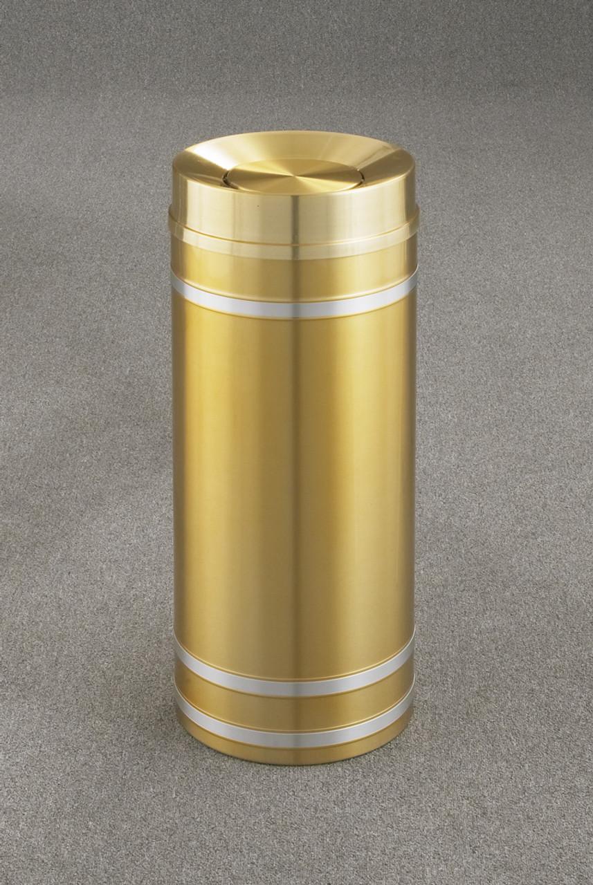 Capri TA1234 Tip Action Top Trash Can Satin Brass 12 Gallon