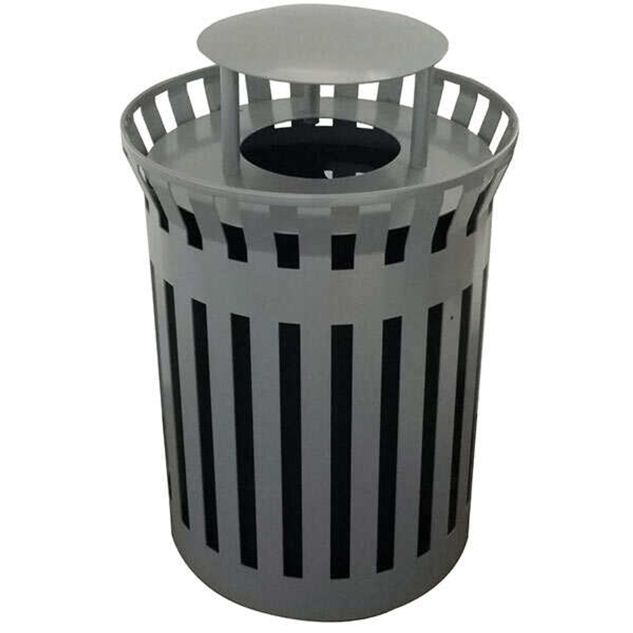 33 Gallon Flat Steel Waste Container with Rain Hood Top MF3299