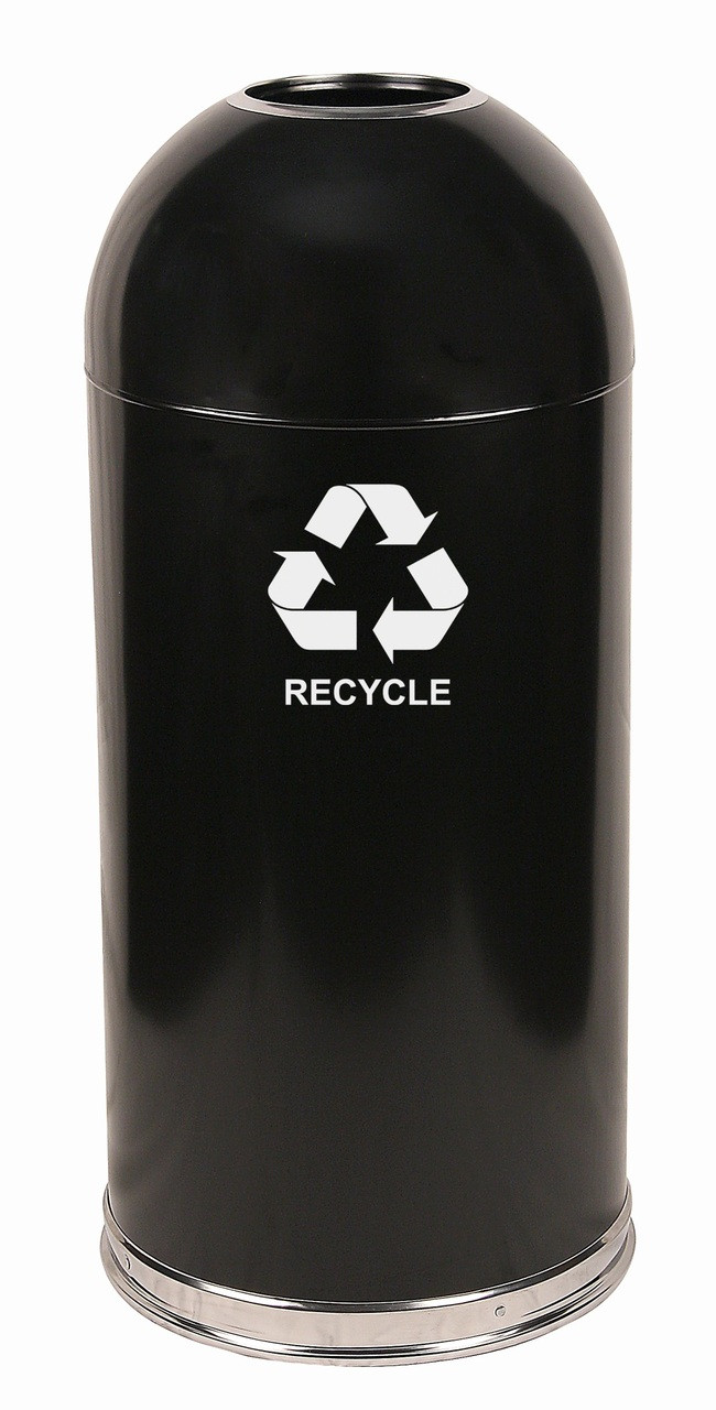 15 Gallon Steel Open Dome Top Recycling Trash Can 415DTBK-R Black
