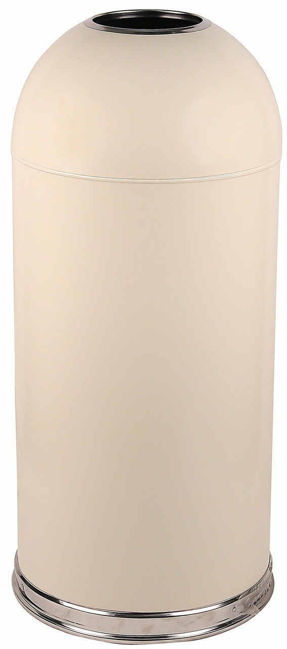 15 Gallon Metal Open Dome Top Trash Can 415DTAL Almond