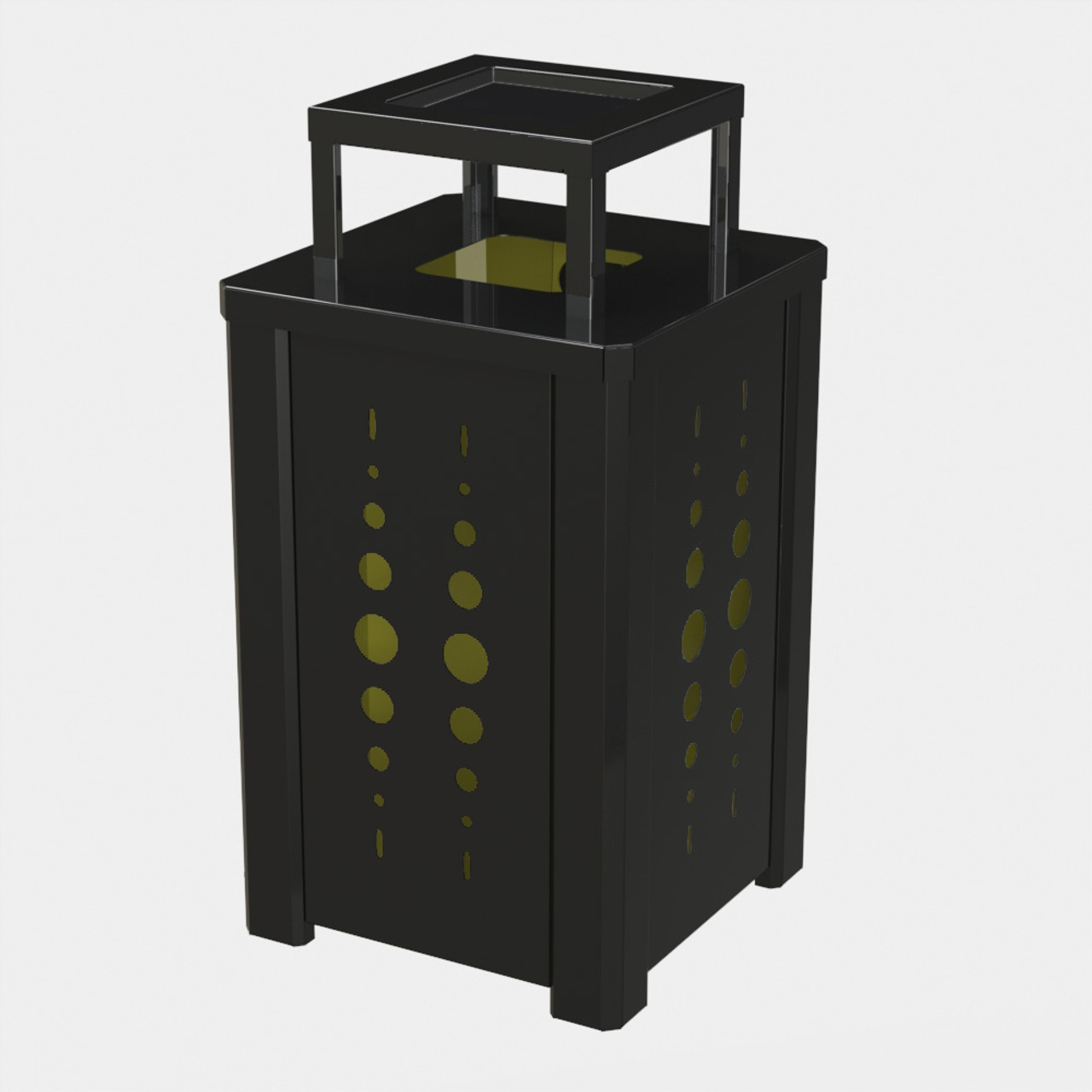 BLACK RECEPTACLE P02 WITH YELLOW LINER