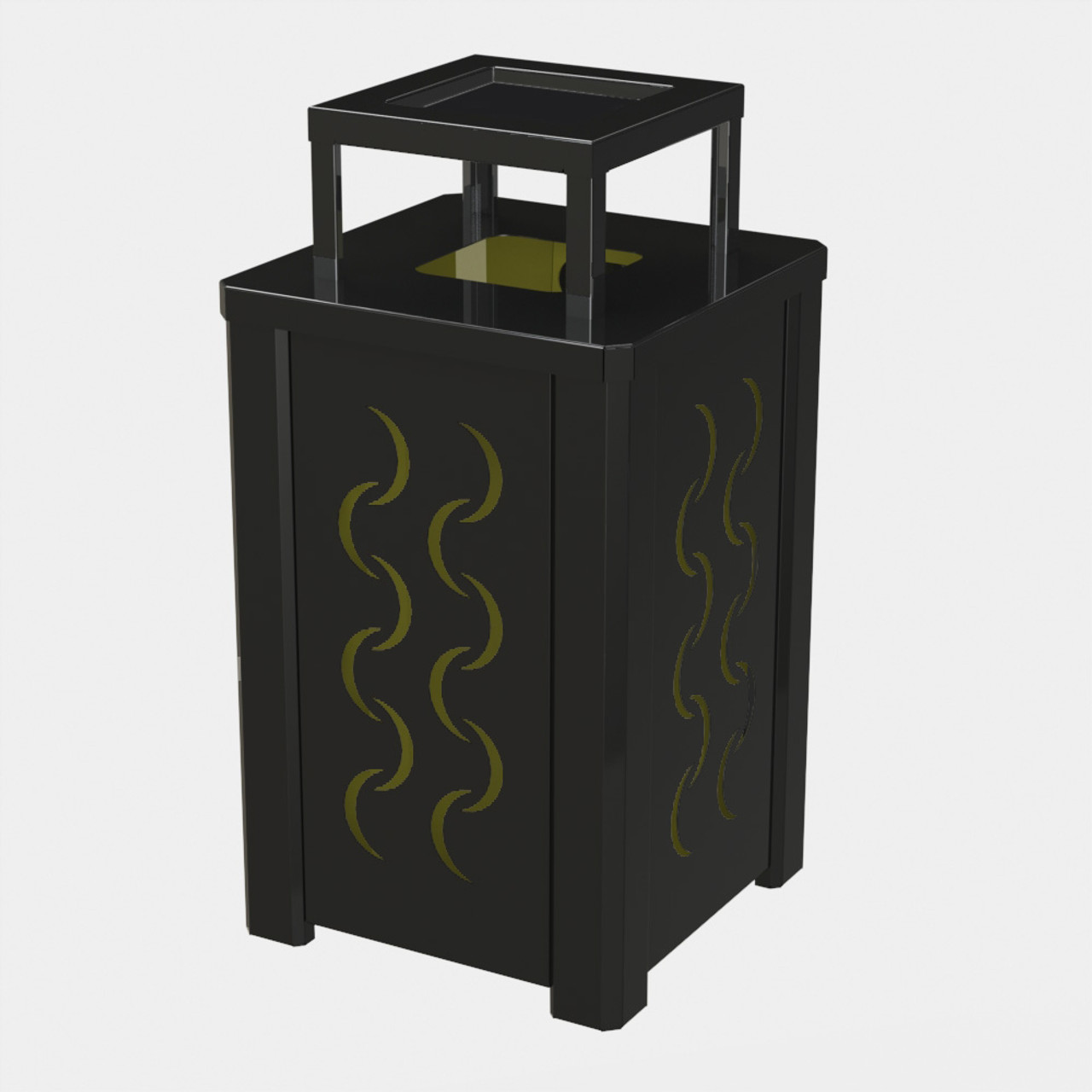 BLACK RECEPTACLE P04 WITH YELLOW LINER