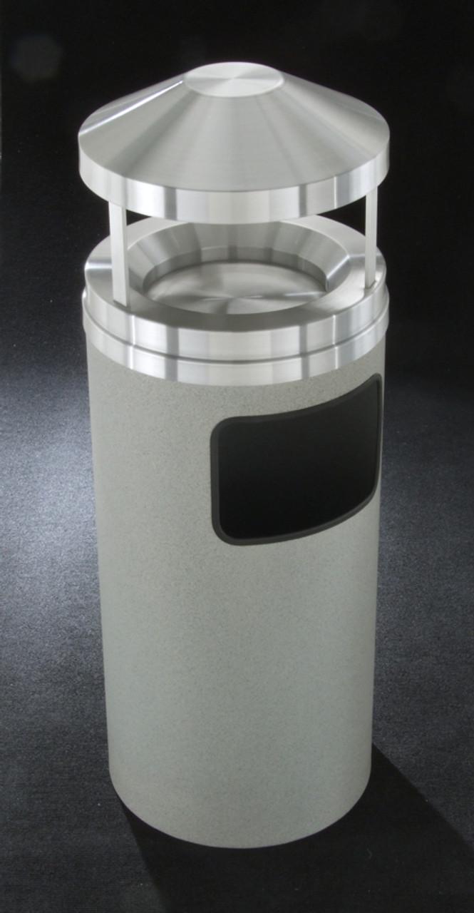 Glaro H1203 6 Gallon Canopy Top Ash Trash Receptacle with Sand Tray GRANITE
