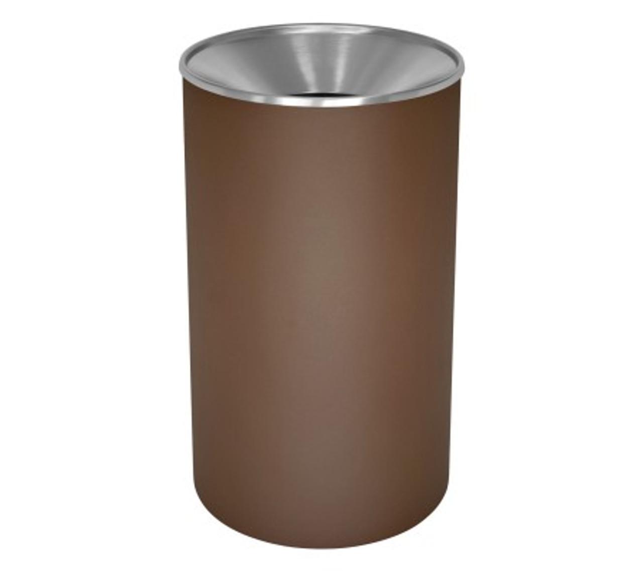 33 Gallon Heavy Duty Metal Trash Can WR-33F BRX BROWN