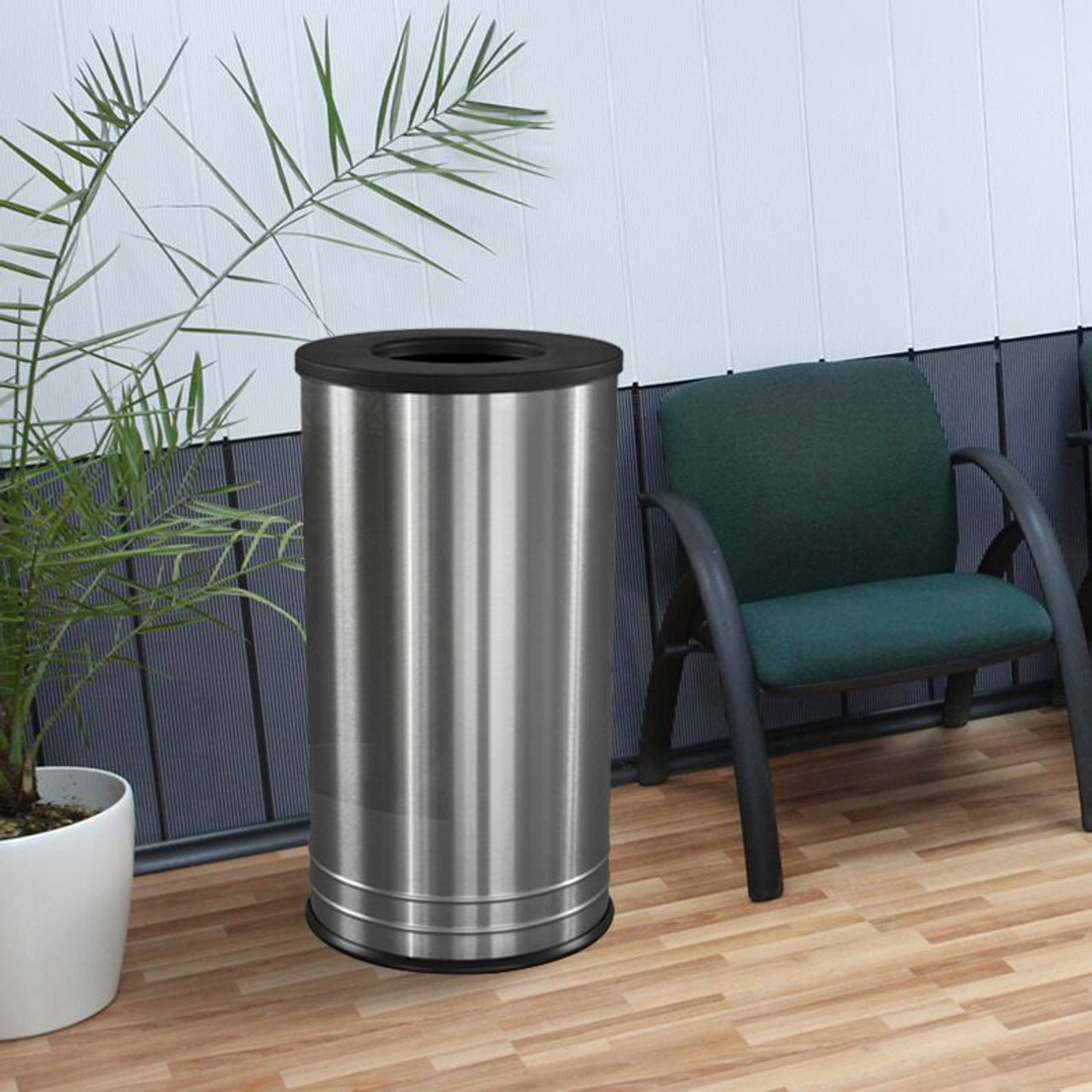 Stainless Steel Trash Can at Office