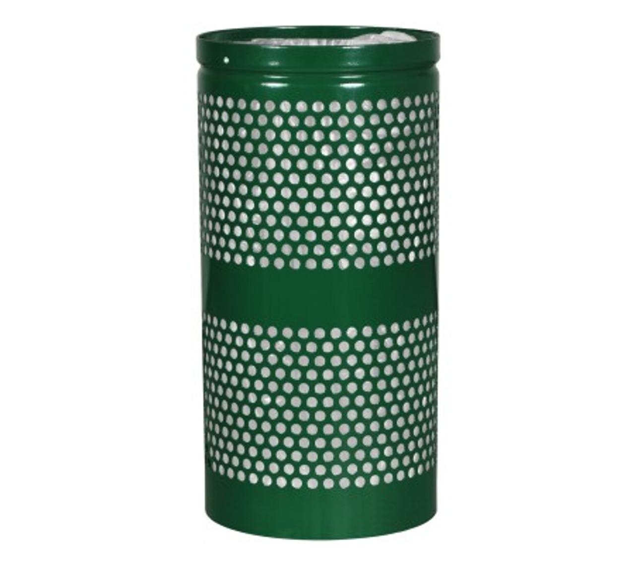 10 Gallon Mesh Trash Can WR-10R HGR GREEN GLOSS with Anchor Kit