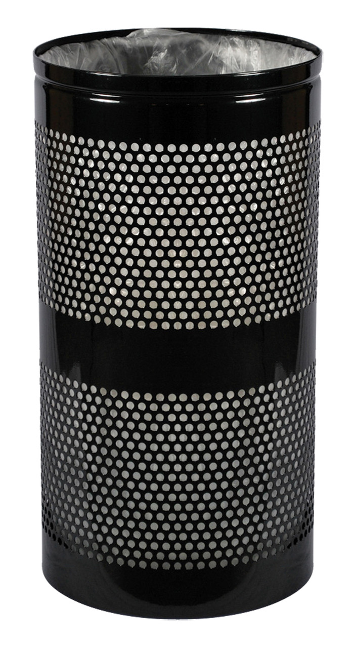 20 Gallon Mesh Trash Can WR-22R BLACK GLOSS with Anchor Kit