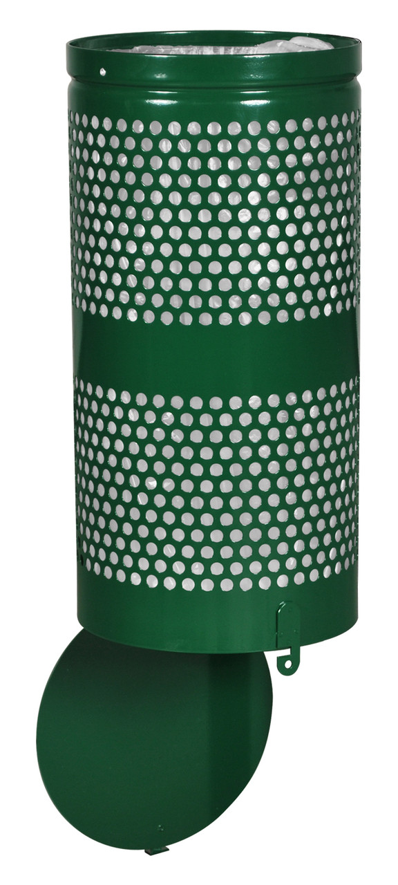 10 Gallon Green Drop Bottom Mesh Trash Can WR690 GREEN PERF