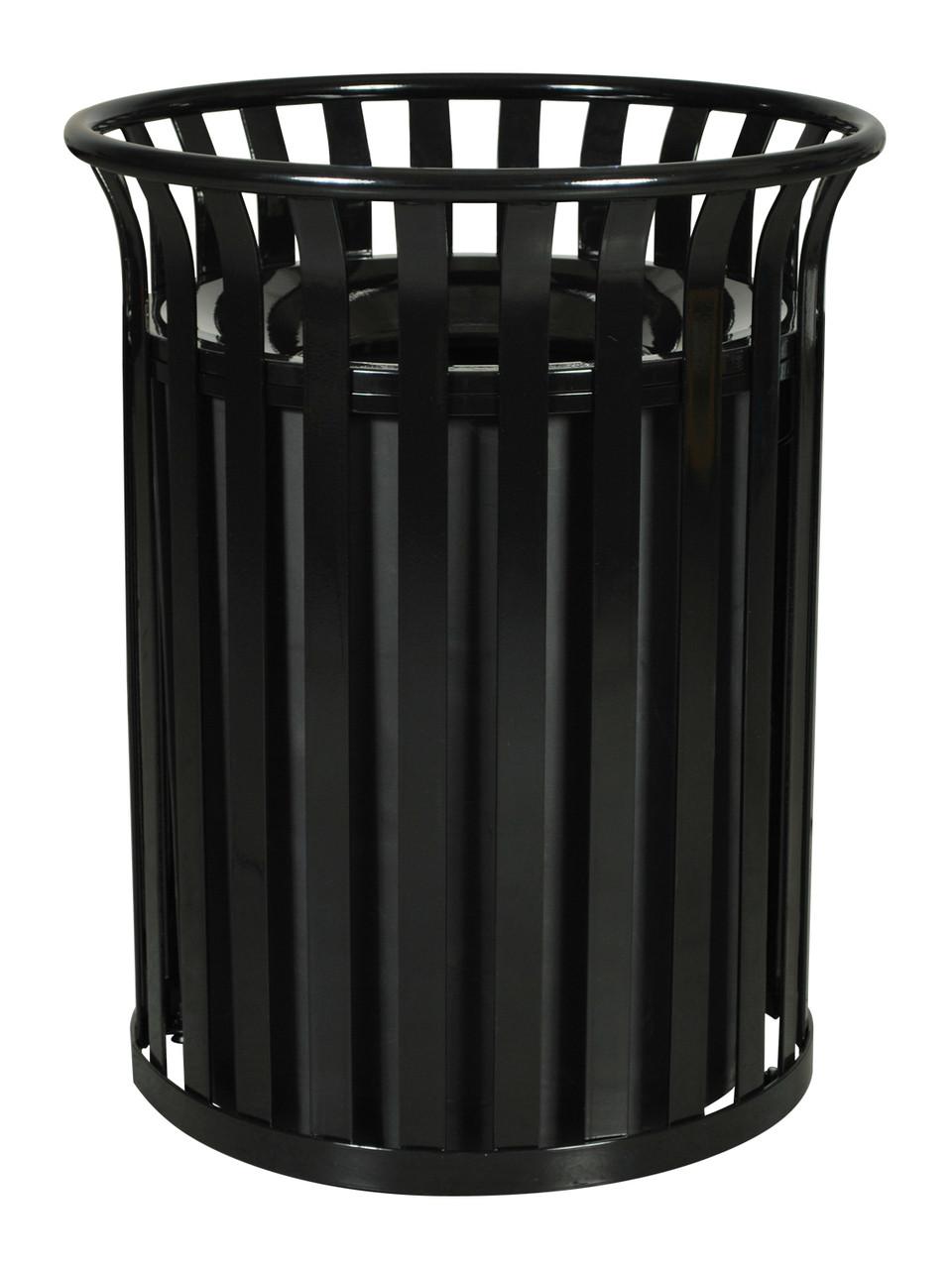 37 Gallon SC-2633 BLK Streetscape Trash Can Black Gloss