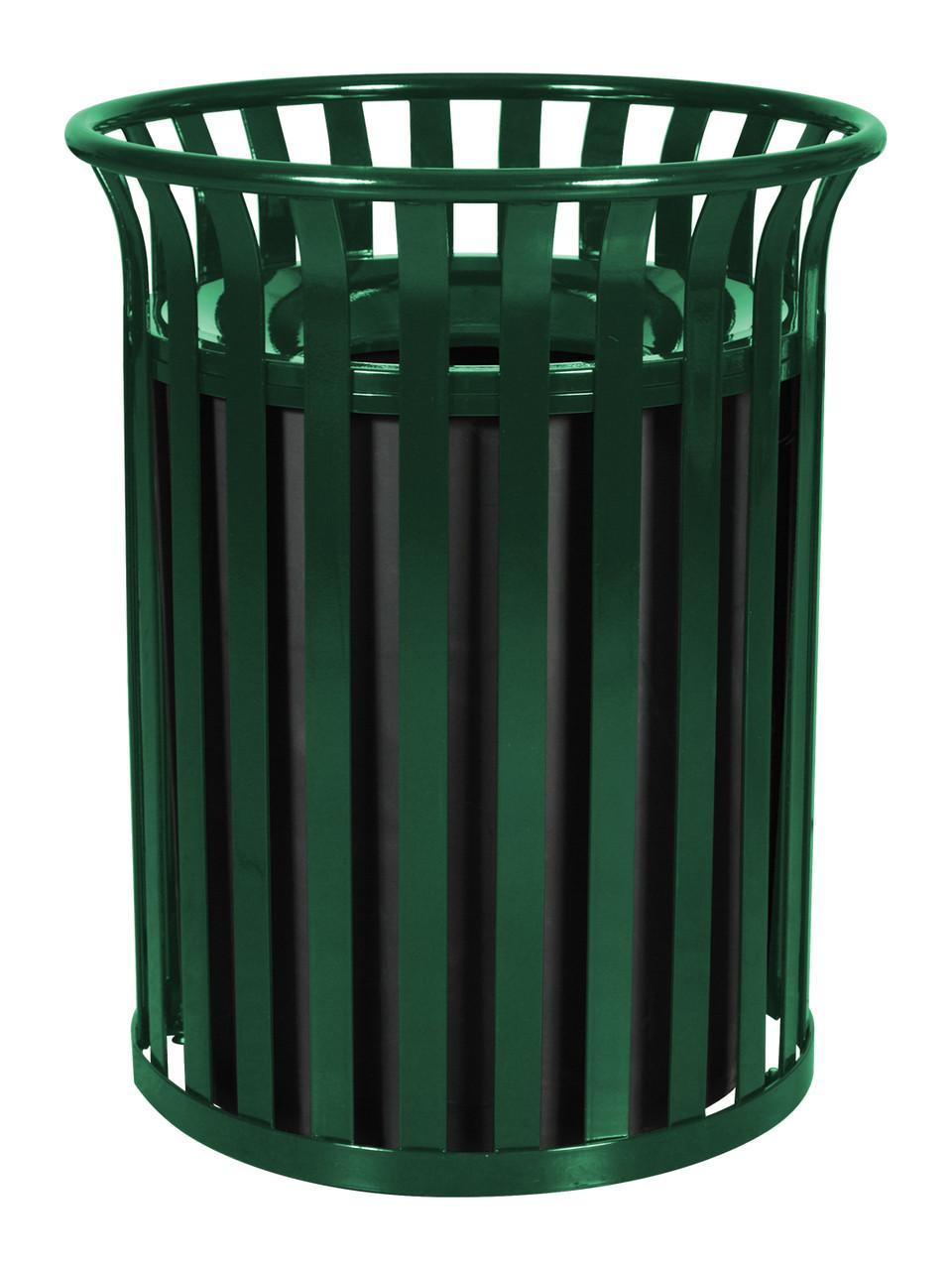 37 Gallon SC-2633 HGR Streetscape Trash Can Green Gloss